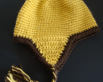 HC003 Child hand crochet hat with ear flaps
