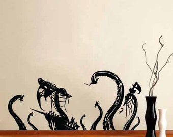Vinyl Wall Decal Sticker Pirate Ship Attack by Octopus