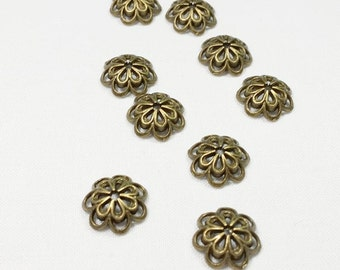 10pcs Antique Bronze Tone Bead Caps Cones double flower 14mm Tibetan  - CAP.6016