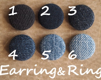 Reduce, reuse, recycle denim fabric covered button earrings, fabric covered button clip on earrings, fabric covered button ring