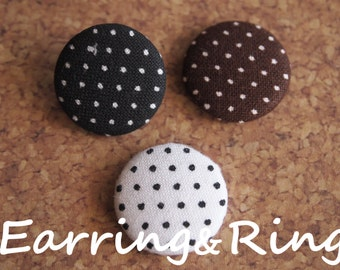 Polka dot fabric covered button earrings, fabric covered button clip on earrings, fabric covered button ring, black dot white dot brown dot