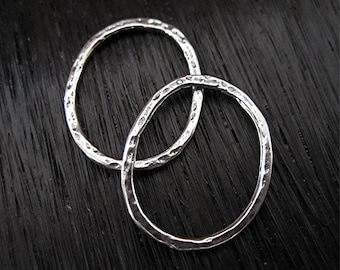 Extra Large Handmade Oval Artisan Jewelry Link in Sterling Silver (pair) (C) (N)