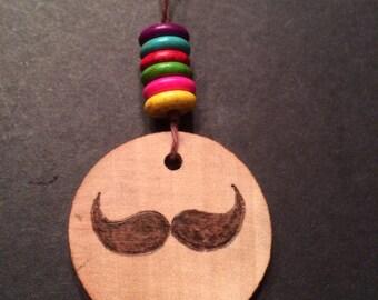 Hipster Wood Burned Necklace