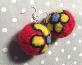Unique needle felted handmade flower earings.