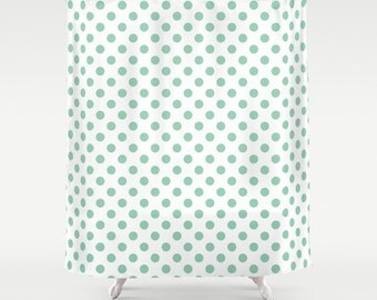 45 colors Polka Dot Shower Curtain, seafoam mint green shower curtain, bathroom shower curtains, retro bathroom decor, long shower curtain