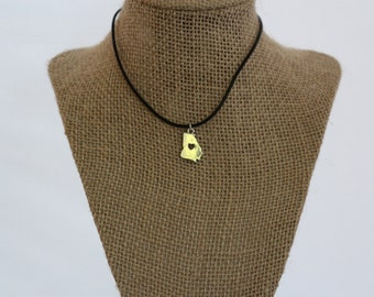 State of Georgia Silver/ Leather  Necklace