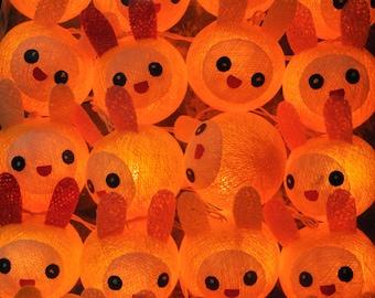 20 Yellow Happy Rabbit Lights Cotton Ballsfor Kid bedroom birthday  light display garland decorations