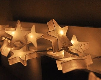 20 Battery Powered LED  White Star Paper Lantern String Lights for Party Wedding and Decorations