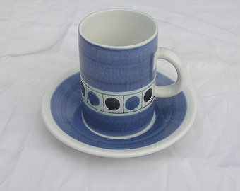 Retro Vintage Cinque Ports Pottery the Monastery Rye Cup and Saucer