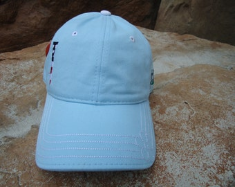 Women's Golf Hat Frost Blue with Embroidered USA Flag Tee Design | Great Golf Gift Idea! (July 4th)