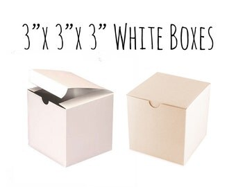 """White Boxes 3 x 3 x 3"""" Square, 25 To 50 Pack of Wedding Favor Boxes, Gift Box, Cupcake Box, Smooth White Cardboard Box, Candy Box, Wedding"""