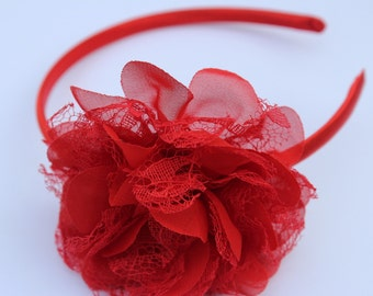 Red headband flower girl headband toddler hard headband satin headband Red wedding headband plastic headband  girls red hair accessory kids
