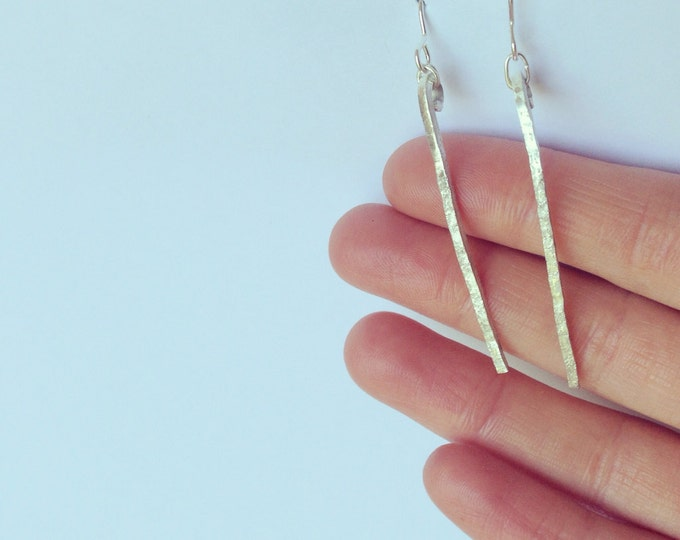 Silver Bar Earrings - Sterling 925 - Hook Wire - Organic Distressed Textured