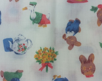 Vintage delicate cotton linen offcut perfect for upcycling, cute design, posy, bunnies, papa rabbit, teapot, mother goose, bell