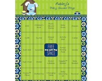 Blue Boy Puppy Baby Shower Bingo - 16 Unique Personalized Gift Bingo Game Cards