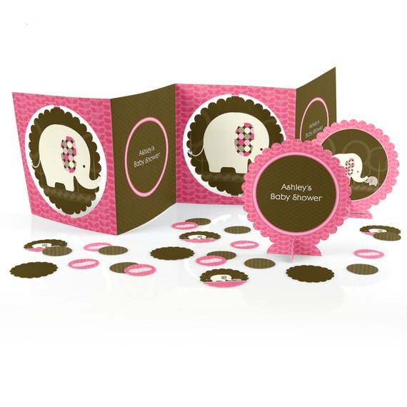 Pink elephant centerpiece kit piece custom decoration