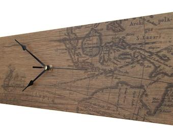 CLC 45cm Landscape ATLAS Wood-Look Wall Clock - BROWN