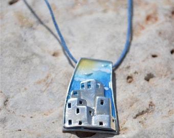 Sterling Silver Pendant, Enamel Pendant, Cloisonne Pendant - Mediterranean Landscape, Summer Pendant, Silver Jewelry, Enamel Jewelry