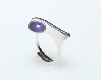Silver Ring, Purple Enamel Ring, Bubble, Colorful Jewelry, Minimalist Ring,Circle Ring, Geometric Ring, Giampouras Collections
