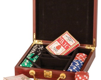 Rosewood Finish 100 Chip Poker Set