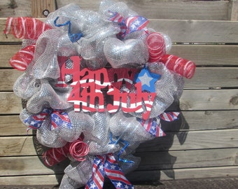 "24"" Patriotic Wreath Silver Patriotic Wreath Happy 4th Of July Wreath Independence Day Wreath Fourth of July Wreath Star July 4th Decor"