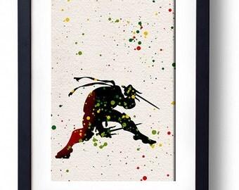 Teenage Mutant Ninja Turtles Raphael watercolor illustrations art children's room wall art home decor nursery art