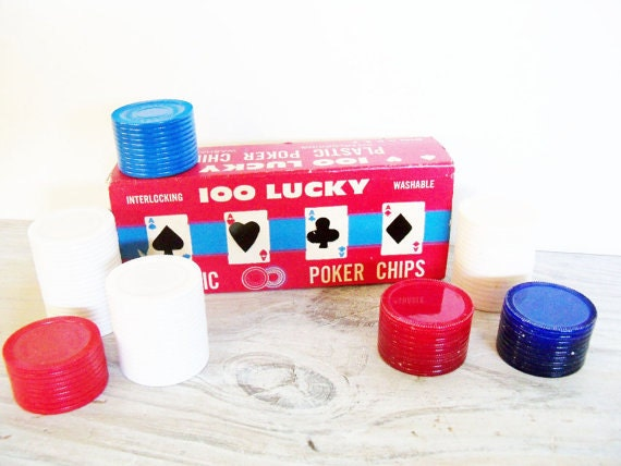Vintage Lucky Poker Chips Original Box 1960s
