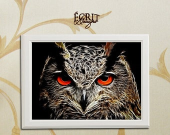 Fractal Owl Print, Animal Fractal Print, Animal Art Print, Room Wall Art Poster, Wall Decor