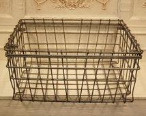 Large Vintage French Galvanized Metal Industrial Wire Storage Basket