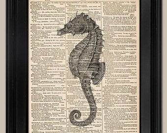 "Classic Seahorse. Vintage book page art print. Animal Print on book page. Fits 8""x10"" frame."