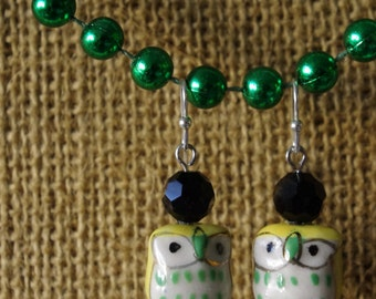 I Don't Give 2 Hoots Earrings: Yellow, Green & Black Ceramic Owls w/ Custom Bead Choice.