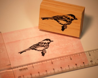 Hand carved rubber stamp - chickadee design.