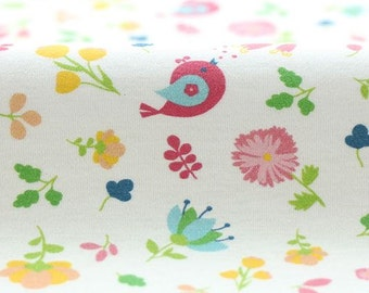 Flower and Birds Pattern 40s Cotton Interlock Knit Fabric AW18