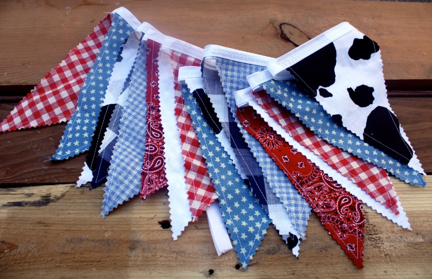 Cowboy theme fabric bunting country western flag pennant for Baby themed fabric