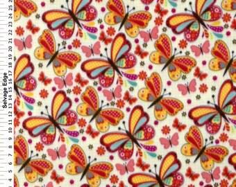 Fabric by the 1/2 Yard - Dot Butterfly on Ivory Polar Fleece