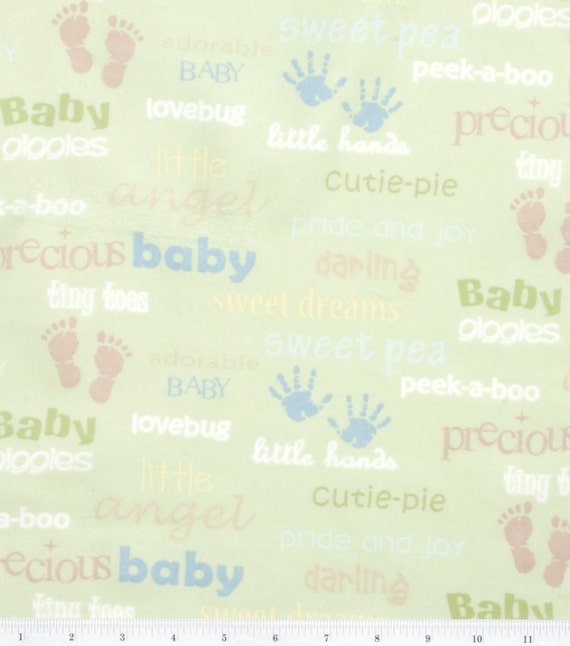 Fabric by the 1 4 yard oh baby words nursery flannel for Children s flannel fabric by the yard