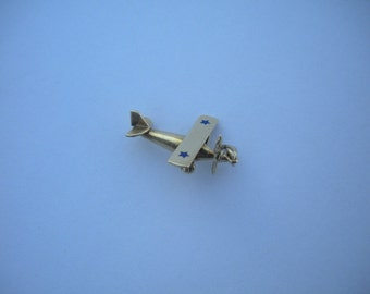 Original Extremely Rare 1927 Charles Lindbergh Spirit of St. Louis Airplane Love 14K Gold Charm !!