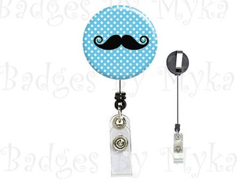 Retractable ID Badge Holder - Mustache