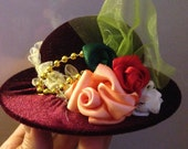Velour Hat Pin Cushion Embroidered with Satin Organza Ribbon Flowers