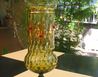 Exquisite Hand Blown Mid Century Bohemian  Apothecary Jar