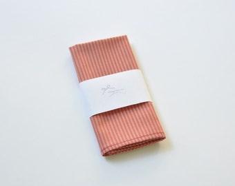 Red Pocket Square. Beige Pocket Handkerchief. Stripe Men's Pocket Hanky