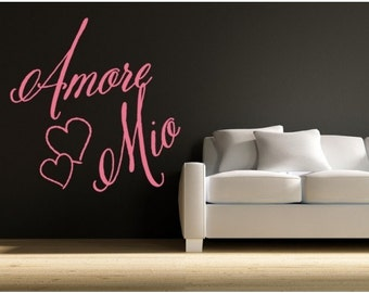 Amore Mio love wall decal, sticker, mural, vinyl wall art