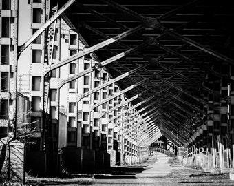 West Bottoms Warehouse District, Kansas City, MO, Urban, Bridge, Black & White Fine Art Photography by Pitts Photography