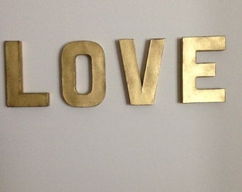 love 8in vintage gold letters wall decor