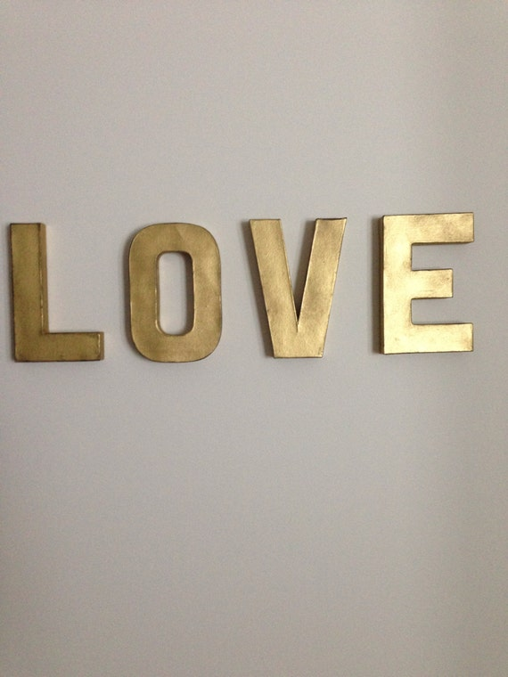Love 8in vintage gold letters wall decor for Gold wall decor letters