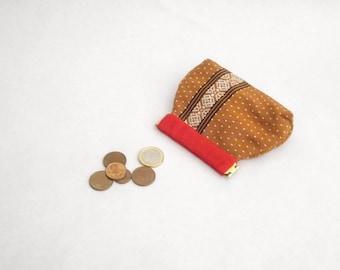 Coin purse, flex frame, brown, japanese fabric, kimono fabric