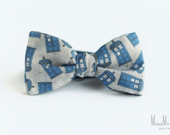 Doctor Who Tardis Bow Tie / doctor who bow tie / cotton bow tie / gift for geek / whovian / Tardis Grey Navy Bow Tie
