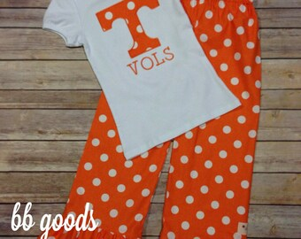 Tennessee Applique Tee & Ruffle Pant Set