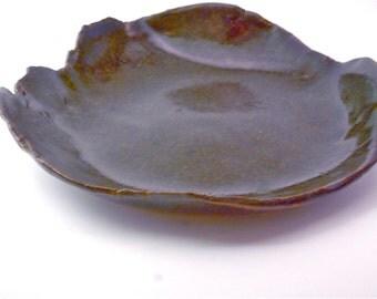 Handmade Stoneware Tray in Tenmoku