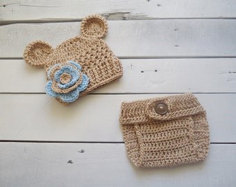 Baby crochet hat and diaper cover session photo teddy Bear